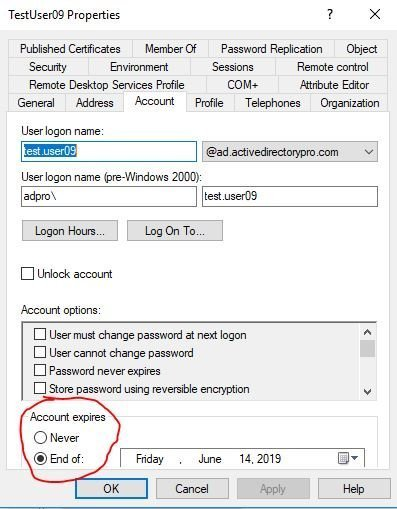 Example Active Directory expired account