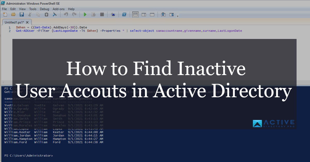 How to find inactive user accounts in active directory