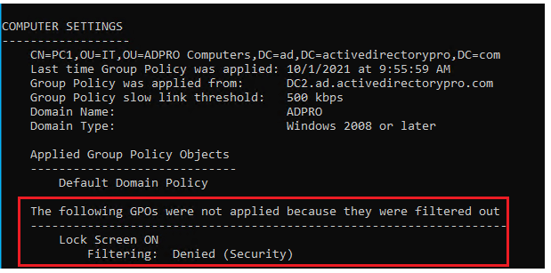 Verify the lock screen policy is denied with the gpresult command